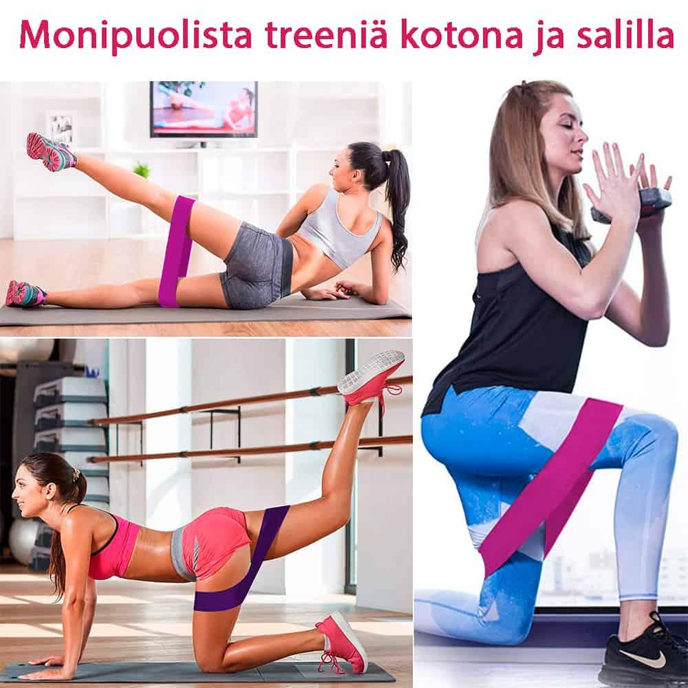 Bella Heat Vastuskuminauhoilla treenaat kotona ja kuntosalilla